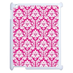 White On Hot Pink Damask Apple iPad 2 Case (White)