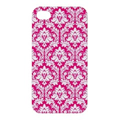 White On Hot Pink Damask Apple iPhone 4/4S Hardshell Case