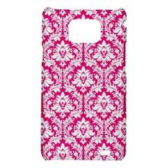 White On Hot Pink Damask Samsung Galaxy S II i9100 Hardshell Case