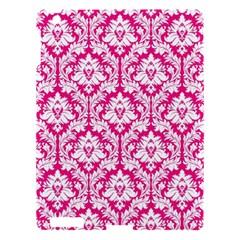 White On Hot Pink Damask Apple Ipad 3/4 Hardshell Case