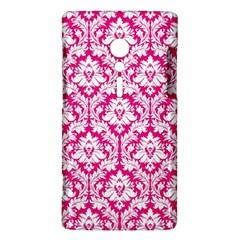 White On Hot Pink Damask Sony Xperia ion Hardshell Case