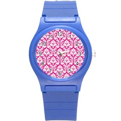 White On Hot Pink Damask Plastic Sport Watch (Small)