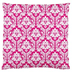 Hot Pink Damask Pattern Large Cushion Case (One Side)