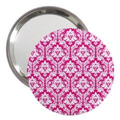 White On Hot Pink Damask 3  Handbag Mirror