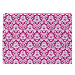 White On Hot Pink Damask Cosmetic Bag (xxl)