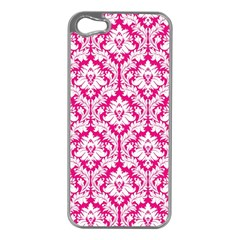 White On Hot Pink Damask Apple iPhone 5 Case (Silver)