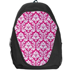 White On Hot Pink Damask Backpack Bag