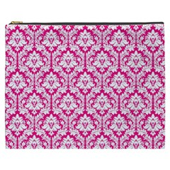 White On Hot Pink Damask Cosmetic Bag (xxxl)