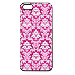 White On Hot Pink Damask Apple Iphone 5 Seamless Case (black)