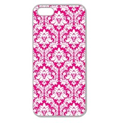 White On Hot Pink Damask Apple Seamless iPhone 5 Case (Clear)