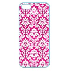 White On Hot Pink Damask Apple Seamless iPhone 5 Case (Color)