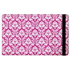 White On Hot Pink Damask Apple iPad 2 Flip Case