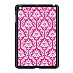 White On Hot Pink Damask Apple iPad Mini Case (Black)