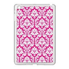 White On Hot Pink Damask Apple iPad Mini Case (White)