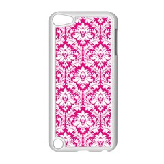 White On Hot Pink Damask Apple iPod Touch 5 Case (White)