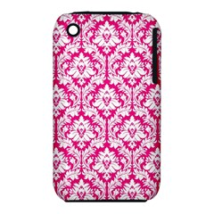 White On Hot Pink Damask Apple iPhone 3G/3GS Hardshell Case (PC+Silicone)