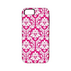 White On Hot Pink Damask Apple Iphone 5 Classic Hardshell Case (pc+silicone)