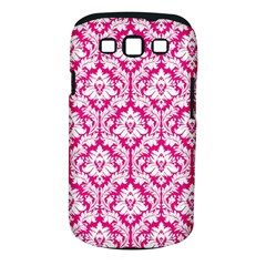 White On Hot Pink Damask Samsung Galaxy S Iii Classic Hardshell Case (pc+silicone)