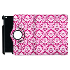 White On Hot Pink Damask Apple Ipad 3/4 Flip 360 Case