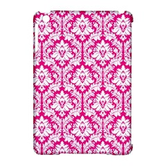 White On Hot Pink Damask Apple iPad Mini Hardshell Case (Compatible with Smart Cover)