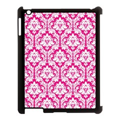 White On Hot Pink Damask Apple iPad 3/4 Case (Black)