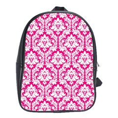 Hot Pink Damask Pattern School Bag (xl)