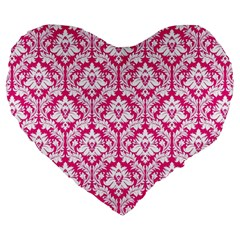 Hot Pink Damask Pattern Large 19  Premium Heart Shape Cushion