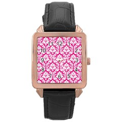 White On Hot Pink Damask Rose Gold Leather Watch