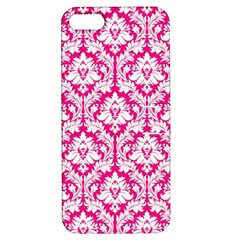 White On Hot Pink Damask Apple iPhone 5 Hardshell Case with Stand