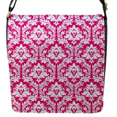 Hot Pink Damask Pattern Flap Closure Messenger Bag (S)