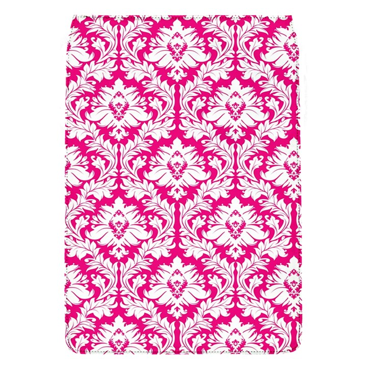 White On Hot Pink Damask Removable Flap Cover (Small)