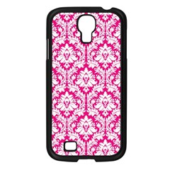 White On Hot Pink Damask Samsung Galaxy S4 I9500/ I9505 Case (Black)