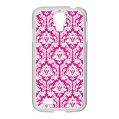 White On Hot Pink Damask Samsung GALAXY S4 I9500/ I9505 Case (White)