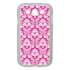 White On Hot Pink Damask Samsung Galaxy Grand Duos I9082 Case (white)