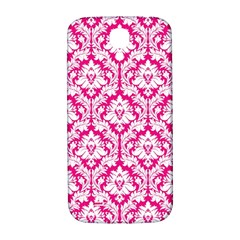 White On Hot Pink Damask Samsung Galaxy S4 I9500/I9505  Hardshell Back Case