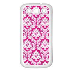White On Hot Pink Damask Samsung Galaxy S3 Back Case (White)