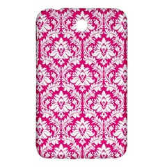 White On Hot Pink Damask Samsung Galaxy Tab 3 (7 ) P3200 Hardshell Case