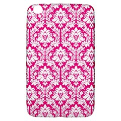 White On Hot Pink Damask Samsung Galaxy Tab 3 (8 ) T3100 Hardshell Case
