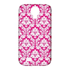 White On Hot Pink Damask Samsung Galaxy S4 Classic Hardshell Case (PC+Silicone)