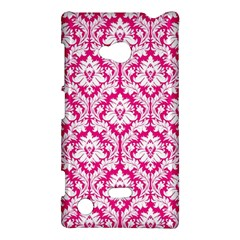 White On Hot Pink Damask Nokia Lumia 720 Hardshell Case