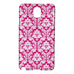 White On Hot Pink Damask Samsung Galaxy Note 3 N9005 Hardshell Case