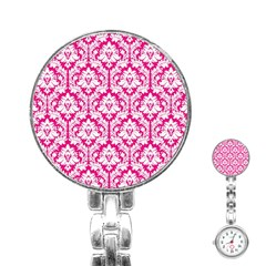 White On Hot Pink Damask Stainless Steel Nurses Watch