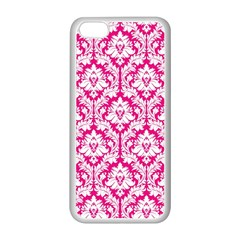 White On Hot Pink Damask Apple Iphone 5c Seamless Case (white)