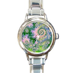 Rose Apple Green Dreams, Abstract Water Garden Round Italian Charm Watch