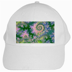 Rose Apple Green Dreams, Abstract Water Garden White Baseball Cap