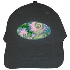 Rose Apple Green Dreams, Abstract Water Garden Black Baseball Cap