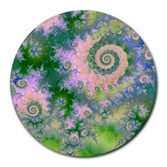 Rose Apple Green Dreams, Abstract Water Garden 8  Mouse Pad (Round)