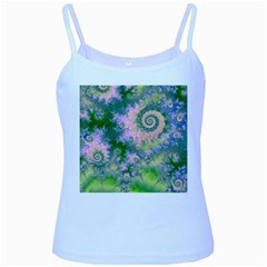 Rose Apple Green Dreams, Abstract Water Garden Baby Blue Spaghetti Tank
