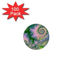 Rose Apple Green Dreams, Abstract Water Garden 1  Mini Button (100 Pack)