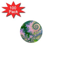 Rose Apple Green Dreams, Abstract Water Garden 1  Mini Button Magnet (100 pack)